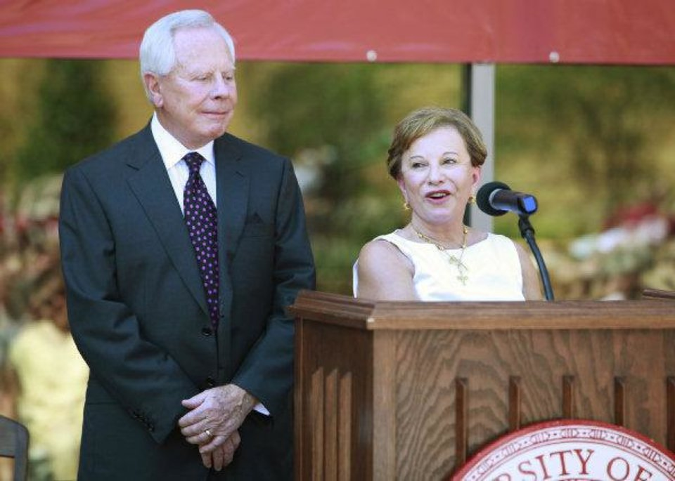 Peggy and Charles Stephenson speak Thursday during the dedication of the Peggy and Charles Stephenson Oklahoma Cancer Center. The building is located on the OU Health Sciences Center campus in Oklahoma City. Photo by David McDaniel, The Oklahoman  ORG XMIT: KOD <strong>David McDaniel - The Oklahoman</strong>