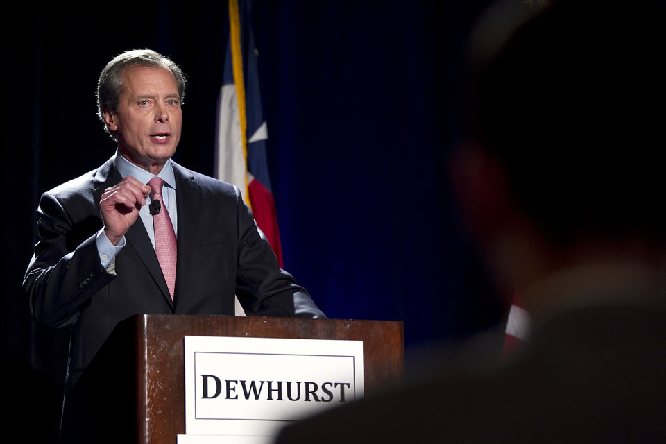 ***HOLD FOR VERTUNO STORY***File - In this Jan. 12, 2012 file photo, Texas Lt. Governor David Dewhurst makes a point during a debate, in Austin, Texas. Like many Texas Republicans, Dewhurst has been waiting in line for higher office for a very long time. Now that Kay Bailey Hutchison is wrapping up her 19-year career in the U.S. Senate, Dewhurst may finally get his chance. (AP Photo/Statesman.com, Laura Skelding, File) MAGS OUT; NO SALES; INTERNET AND TV MUST CREDIT PHOTOGRAPHER AND STATESMAN.COM