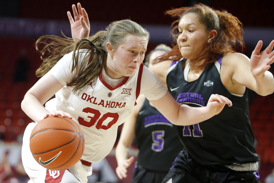 Photo - Oklahoma's Jessi Murcer (0) goes past Central Arkansas' Mekaylan Hicks (11) during an NCAA women's basketball game between the University of Oklahoma (OU) and Central Arkansas at Loyd Noble Center in Norman, Okla., Wednesday, Dec. 5, 2018. Photo by Bryan Terry, The Oklahoman