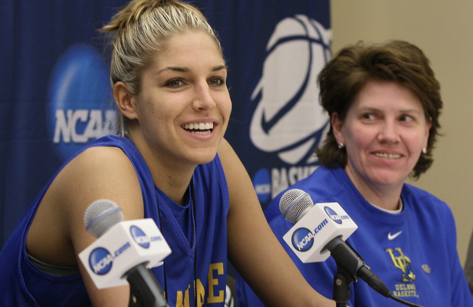 Photo - Delaware 's Elena Delle Donne, left, and coach Tina Martin have advanced to the Sweet 16. AP photo