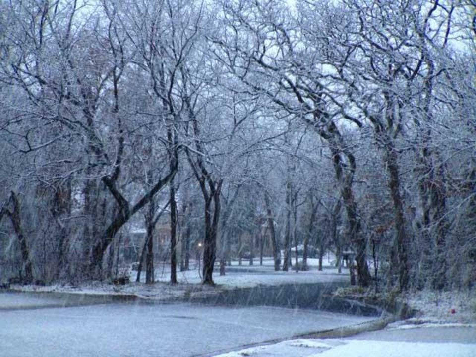 Snow falling in Edmond Wednesday morning - Photo by Doug Hoke
