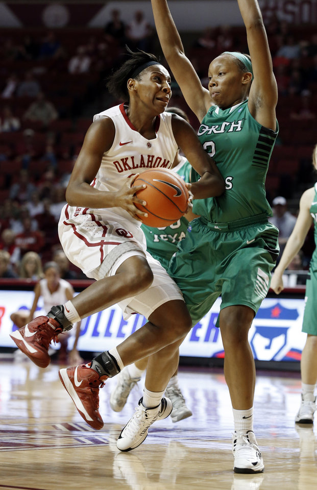 Photo - Oklahoma's Sharane Campbell (24) drives past North Texas' Braylah Blakely (2) as the University of Oklahoma Sooners (OU) play the North Texas Mean Green in NCAA, women's college basketball at The Lloyd Noble Center on Thursday, Dec. 6, 2012  in Norman, Okla. Photo by Steve Sisney, The Oklahoman