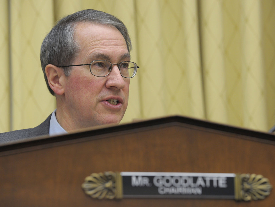 House Judiciary Committee Chairman Rep. Bob Goodlatte, R-Va., gives his opening remarks on Capitol Hill in Washington, Tuesday, Feb. 5, 2013, prior to the committee\'s hearing on America\'s Immigration System: Opportunities for Legal Immigration and Enforcement of Laws against Illegal Immigration. (AP Photo/Susan Walsh)