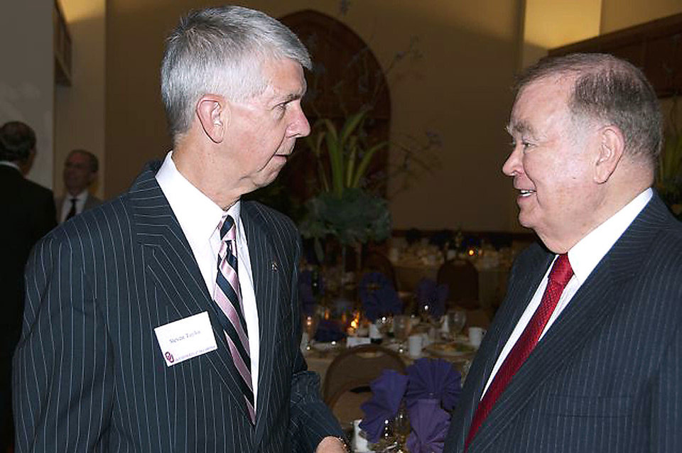 Photo - Oklahoma Supreme Court Chief Justice Steven Taylor, OU President David L. Boren.