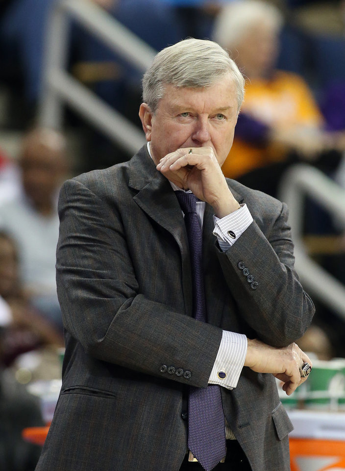 Photo - Texas A&M head coach Gary Blair watches during the first half against Auburn in an NCAA college basketball game in the quarterfinals of the Southeastern Conference women's tournament, Friday, March 7, 2014, in Duluth, Ga. (AP Photo/Jason Getz)