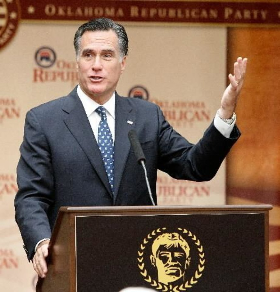 Photo - epublican presidential candidate Mitt Romney speaks to supporters at the Jim Thorpe Association and Sports Hall of Fame in Oklahoma City , Friday, October 21, 2011. Photo by Steve Gooch