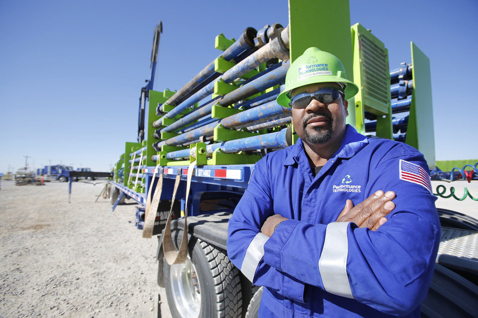 Photo - Maverick Burroughs, a Marine Corps veteran, is one of more than 600 veterans hired this year by Chesapeake Energy Corp. Photo by Steve Gooch, The Oklahoman