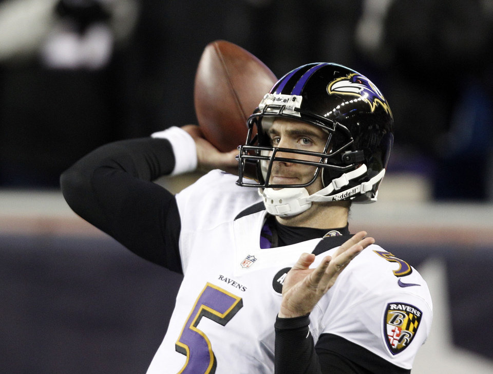 Photo - Baltimore Ravens quarterback Joe Flacco warms up before the NFL football AFC Championship football game against the New England Patriots in Foxborough, Mass., Sunday, Jan. 20, 2013. (AP Photo/Stephan Savoia)