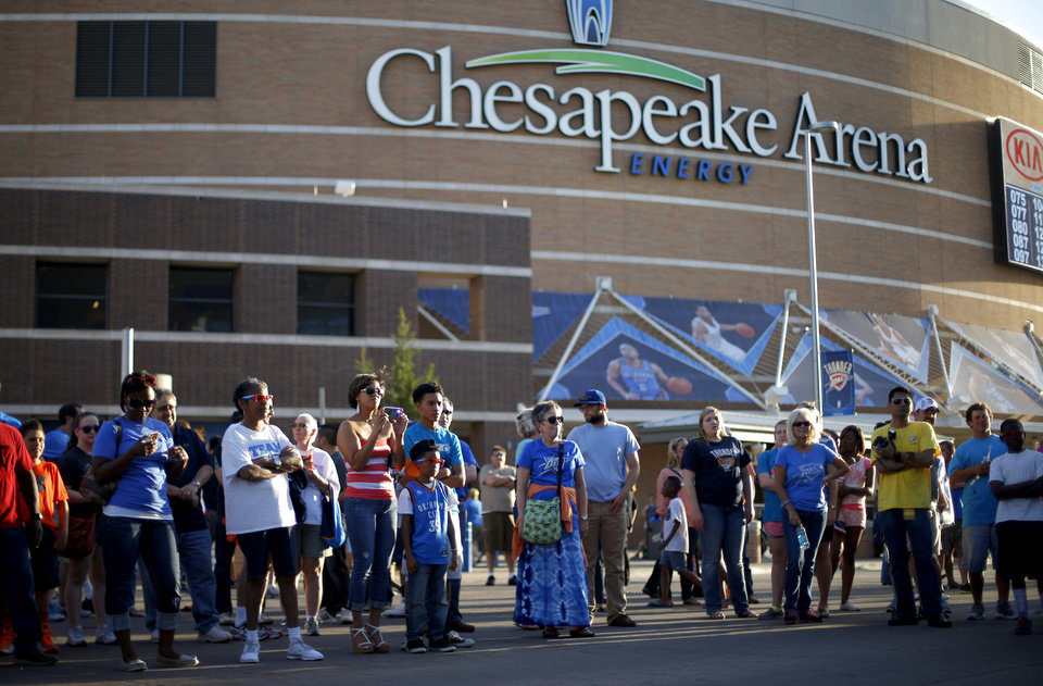 Photo - Fans watch the Thunder Drummers perform before Game 1 of the Western Conference semifinals in the NBA playoffs between the Oklahoma City Thunder and the Los Angeles Clippers at Chesapeake Energy Arena in Oklahoma City, Monday, May 5, 2014. Photo by Bryan Terry, The Oklahoman