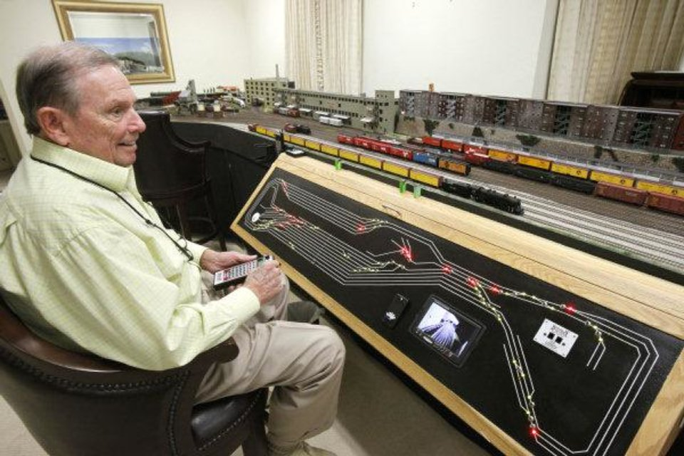 Photo - The control panel for Jimmy Samis' model train collection is as expansive as the train collection. PHOTO BY PAUL HELLSTERN, THE OKLAHOMAN
