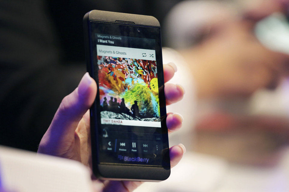 Photo - The BlackBerry Z10 smartphone is displayed in January  in New York.  Mark Lennihan - AP