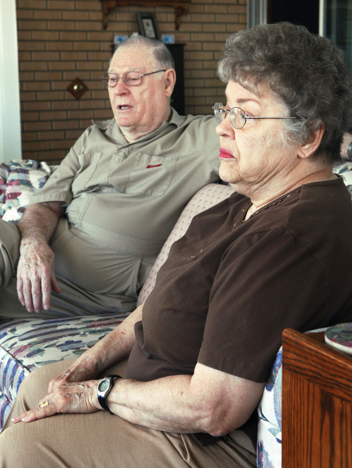 Don and Kay Wilcoxson talk recently at their home in Blanchard about the death of their granddaughter Stephanie Wilcoxson, 11. Go online to NewsOK.com to watch a video with the couple. PHOTO BY STEVE SISNEY,  THE OKLAHOMAN