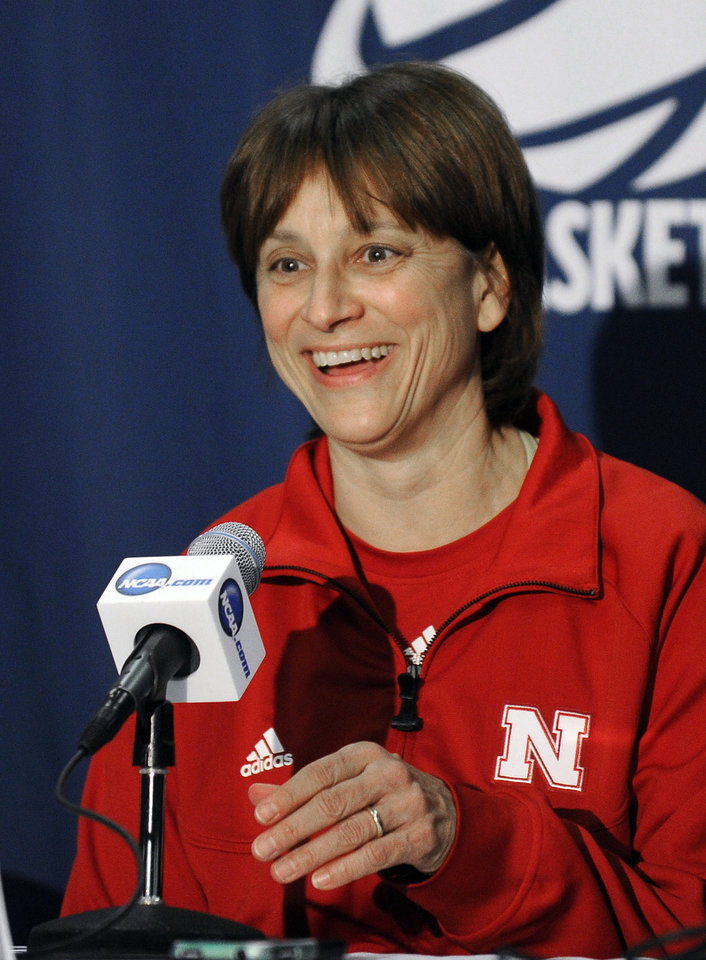 Photo - Nebraska head coach Connie Yori laughs during a news conference, Sunday, March 24, 2013, before practice for their second-round game Monday against Texas A&M in the NCAA women's college basketball tournament in College Station, Texas. (AP Photo/Pat Sullivan)