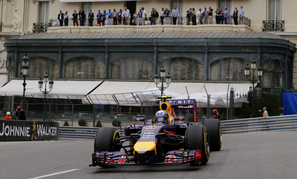 Photo - Red Bull driver Daniel Ricciardo of Australia steers his car during the first free practice at the Monaco racetrack, in Monaco, Thursday, May 22, 2013. The  Monaco Formula One Grand Prix will be held on Sunday. (AP Photo/Claude Paris)