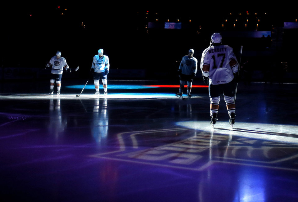 Photo -  The Barons take the ice before an AHL hockey game at the Cox Convention Center in Oklahoma City, Tuesday, December 3, 2013. Photo by Bryan Terry, The Oklahoman