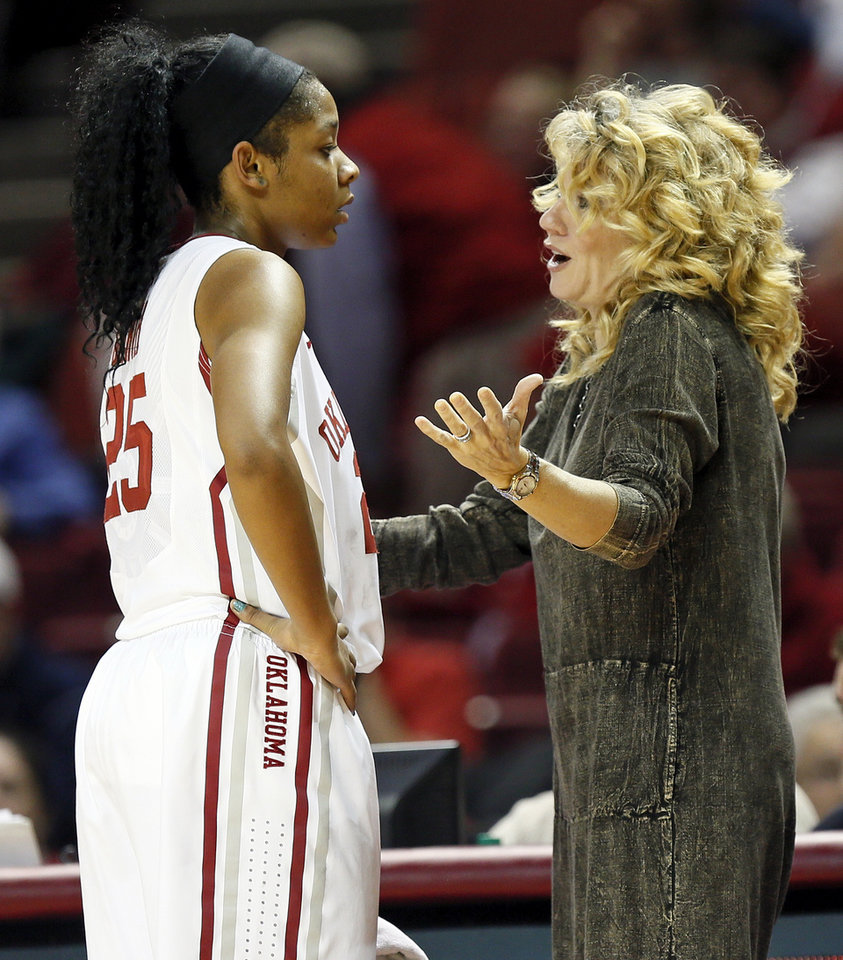 Photo - OU head coach Sherri Coale talks with Gioya Carter (25) after Carter fouled out of a women's college basketball game between the University of Oklahoma Sooners and the Samford Bulldogs at Lloyd Noble Center in Norman, Okla., Sunday, Dec. 29, 2013. OU won, 66-35. Photo by Nate Billings, The Oklahoman