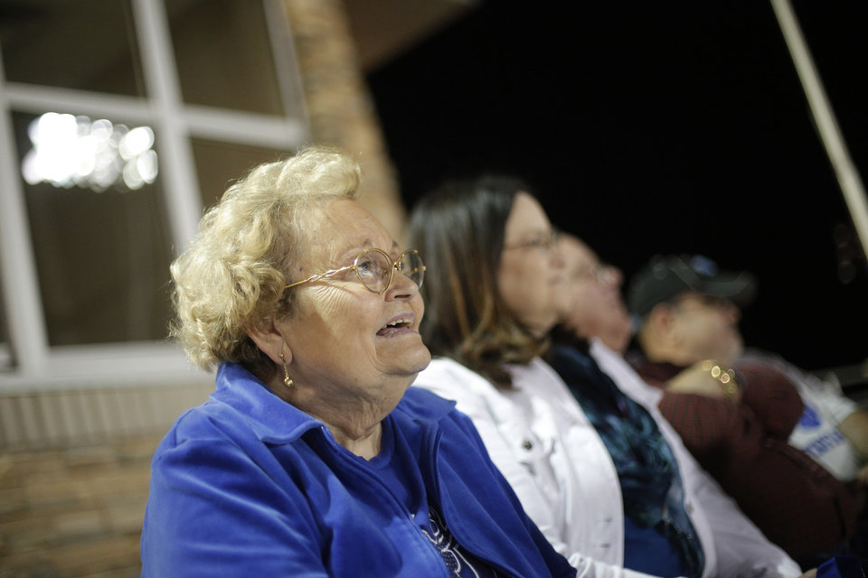 Gay Gower, mother of Deer Creek head coach Grant Gower, watches from the stands during a high school football game between Deer Creek and Ardmore at Deer Creek Stadium in Edmond, Okla., Friday, Nov. 9, 2012.  Photo by Garett Fisbeck, The Oklahoman