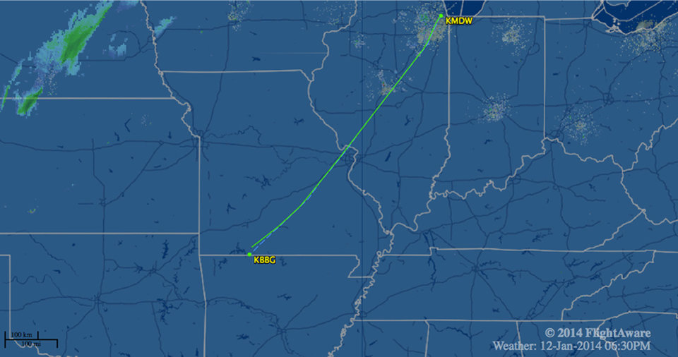 Photo - In this image released by FlightAware.com, the flight path of Southwest Airlines Flight 4013 on Sunday, Jan. 12, 2014, is shown. The Southwest Airlines flight, carrying 124 passengers and five crew members, was scheduled to go from Chicago's Midway International Airport to Branson Airport, in Branson, Mo., airline spokesman Brad Hawkins said Sunday in a statement. But the Boeing 737-700 landed at Taney County Airport about 7 miles away that only had about half as much runway. (AP Photo/Courtesy of FlightAware.com)