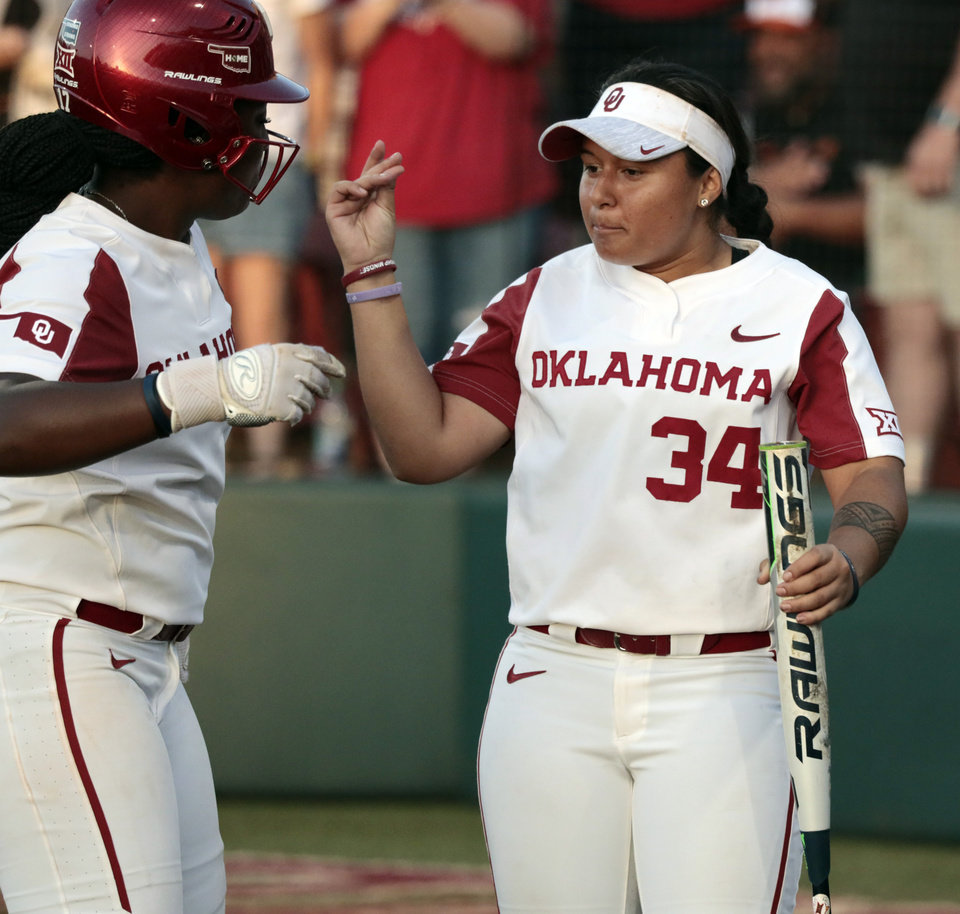 Photo - Shay Knighten and Falepolima Aviu celebrate Jocelyn AloÕs homer in Bedlam softball as the University of Oklahoma Sooners (OU) play the Oklahoma State Cowboys (OSU) at Marita Hynes Field at the OU Softball Complex on  May 4, 2019 in Norman, Okla.  [Steve Sisney/For The Oklahoman]