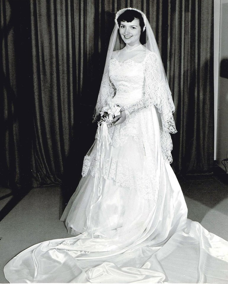 WEDDING DRESS: It was love at first sight when Leah Rae Hayes-Kessler laid eyes on her wedding gown for her June 5 wedding in 1953. Her gown embraced the decade with the lace tiers and short veil. The dress from Halliburton's in Oklahoma City was worth the $98. Five brides, including Hayes-Kessler, have walked down the aisle in this '50s style gown, said her daughter, Holly Heim. The other brides include Heim, her sister, sister-in-law and mother's best friend. Photo provided by Holly Heim