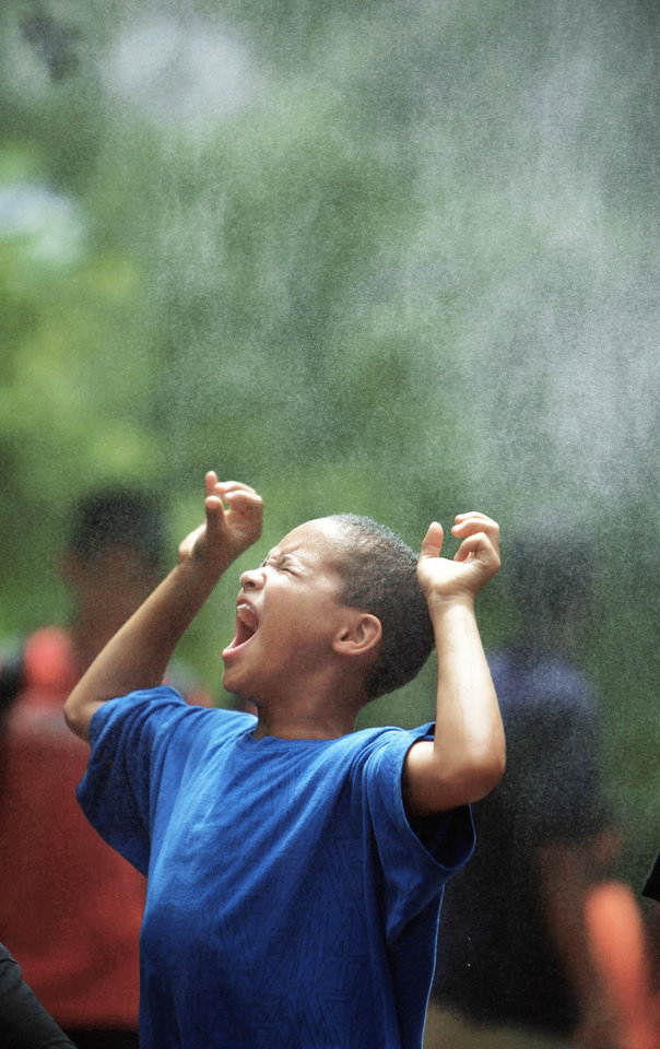 Ethan Thompson, 7, of Oklahoma City cools off in a mister at the zoo Friday.  Photo by Sarah Phipps,The Oklahoman