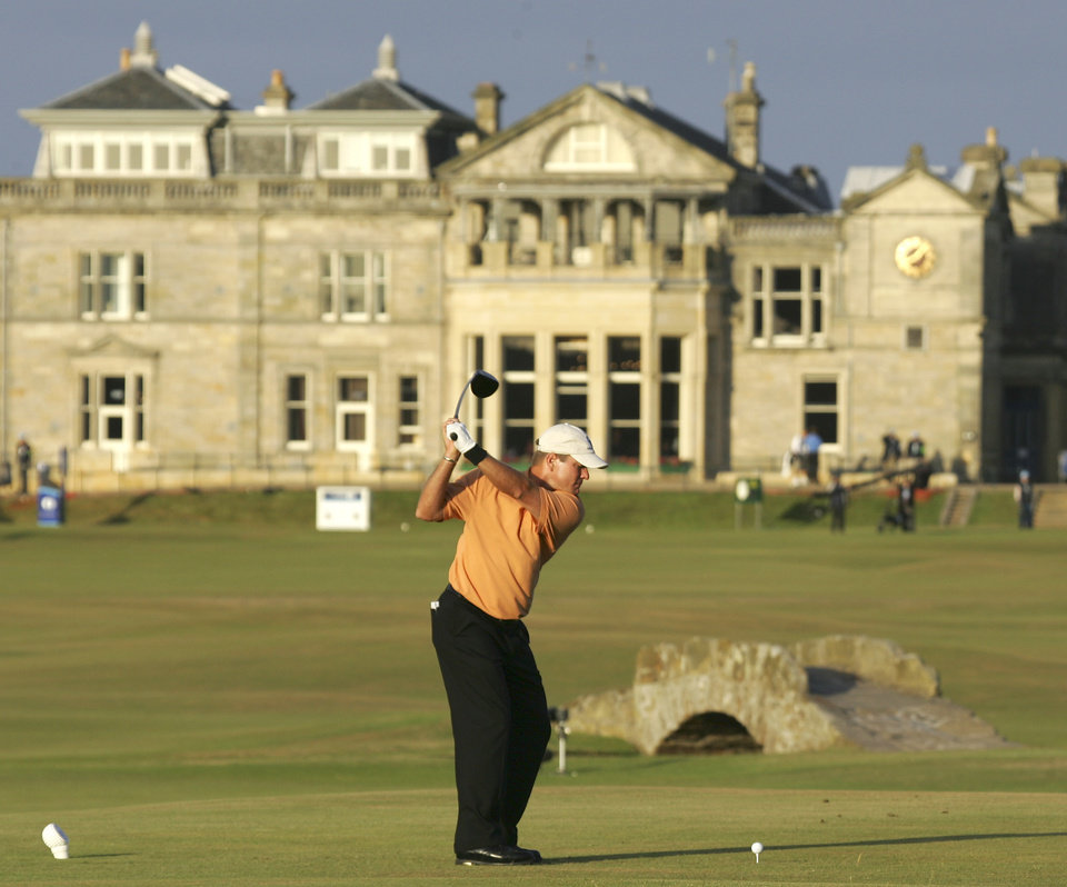 Photo - Scott Verplank plays from the 18th tee during the second round of the British Open golf championship on the Old Course at St. Andrews, Scotland Friday July 15, 2005. (AP Photo/Laurent Rebours)