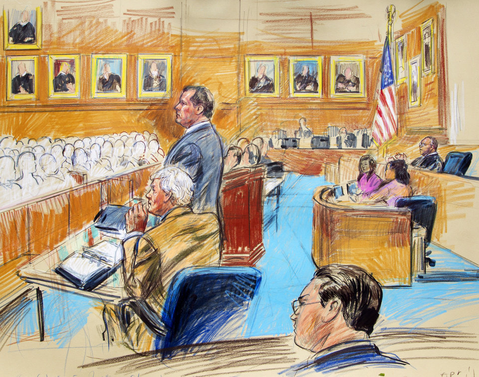 Photo -   This artist rendering shows former Major League Baseball pitcher Roger Clemens, standing left, and his lawyer Rusty Hardin, front left, facing prospective jurors inside federal court in Washington, Monday, Aril 16, 2012, as U.S. District Judge Reggie Walton, right, presides over the jury selection in the perjury trial. (AP Photo/Dana Verkouteren)
