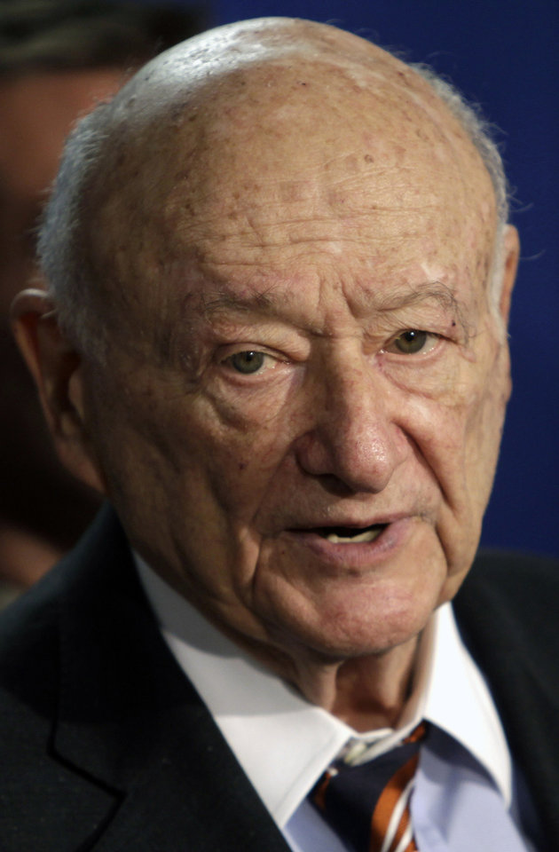 FILE - In this March 1, 2011 file photo, former New York Mayor Ed Koch speaks during a news conference in Albany, N.Y. Koch, 88, was released from a New York City hospital on Saturday, Jan. 26, 2013. This was Koch's third hospital stay since September 2012. (AP Photo/Mike Groll, File)