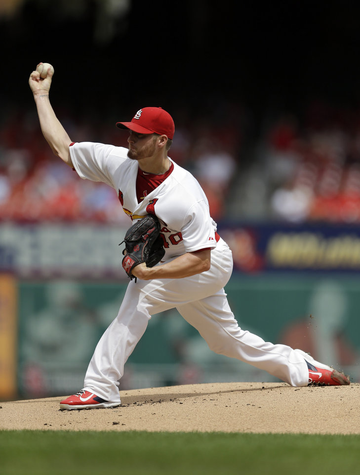 Photo - St. Louis Cardinals starting pitcher Shelby Miller throws during the first inning of a baseball game against the Pittsburgh Pirates Wednesday, Sept. 3, 2014, in St. Louis. (AP Photo/Jeff Roberson)