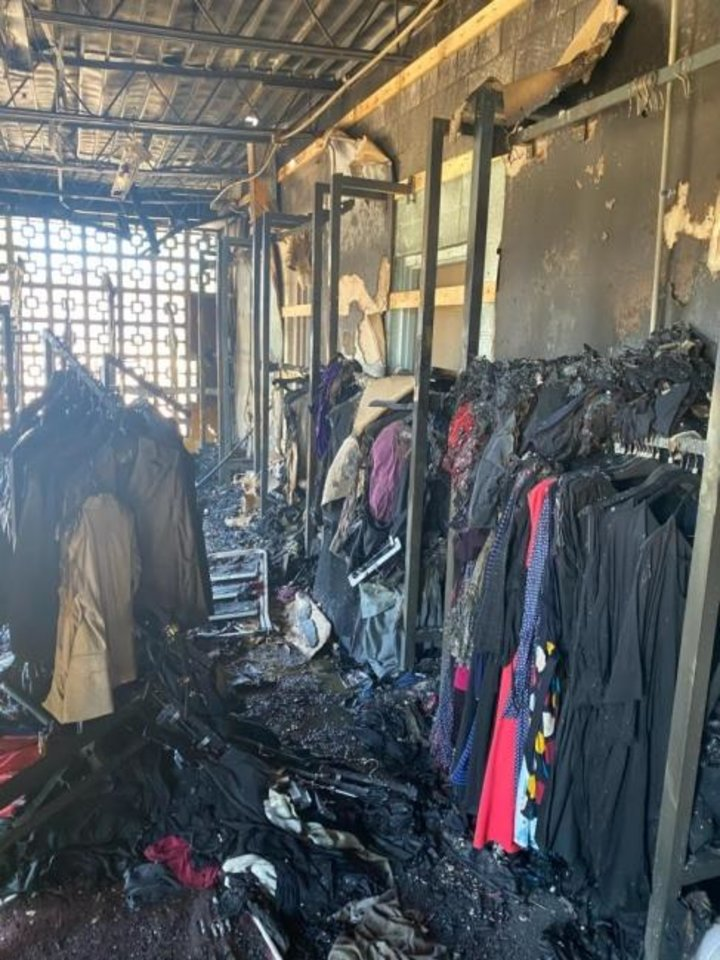Photo -  Clothing and other items destroyed in a fire on Saturday are shown at in the building that housed the nonprofit Dress for Success, 1215 N Western. [Photo provided]