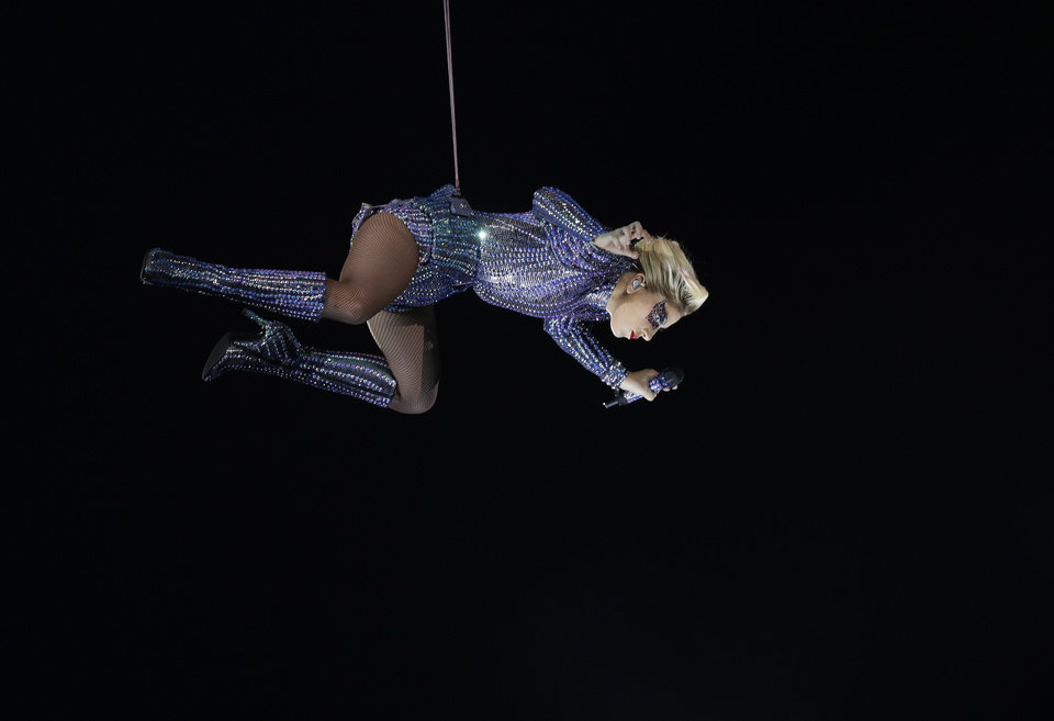 Photo - Lady Gaga performs during the halftime show of the NFL Super Bowl 51 football game between the Atlanta Falcons and the New England Patriots Sunday, Feb. 5, 2017, in Houston. (AP Photo/Mark Humphrey)