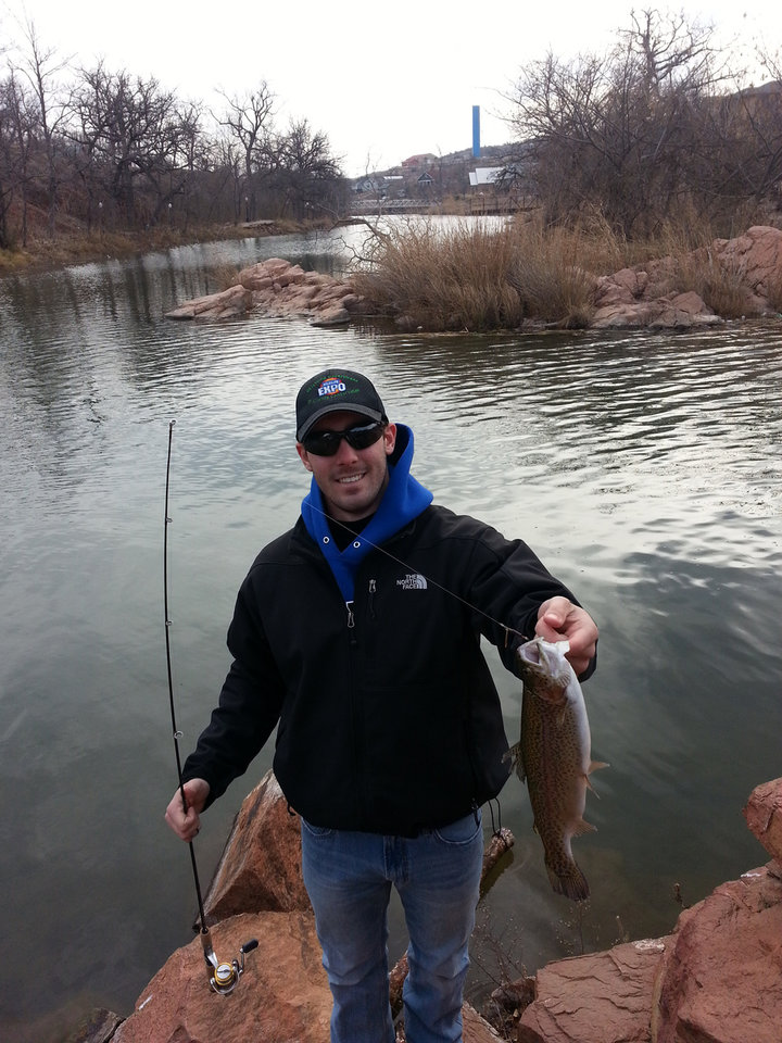Jarret Cofer of Norman with a nice trout from Oklahoma's newest winter trout fishery in Medicine Park.