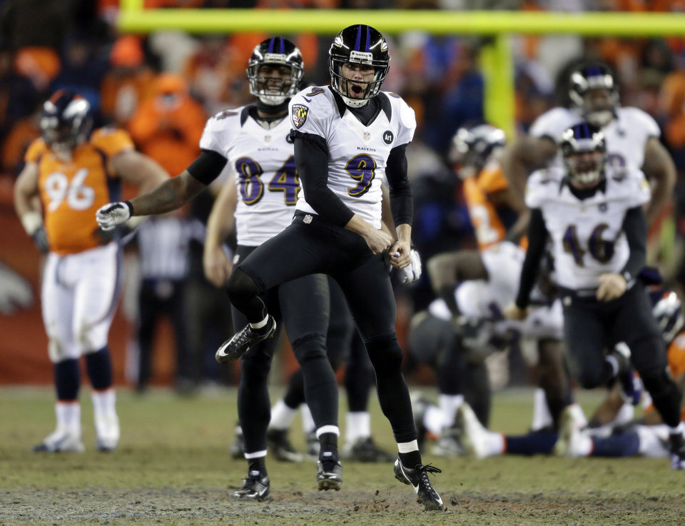 Photo - ADVANCE FOR WEEKEND EDITIONS, FEB. 2-3 - FILE - In this Jan. 12, 2013, file photo,  Baltimore Ravens kicker Justin Tucker (9) reacts after kicking the game-winning field goal against the Denver Broncos during the second overtime of an AFC divisional playoff NFL football gamein Denver. This indoor, New Orleans-style Super Bowl between Baltimore and San Francisco could come down to the kickers, the shaky 15-year veteran, David Akers, who's experiencing one of the worst years of his career coming off the best, and Tucker, an undrafted rookie who kicked the game-winner in double-overtime at Denver in the divisional playoffs. (AP Photo/Joe Mahoney, File)