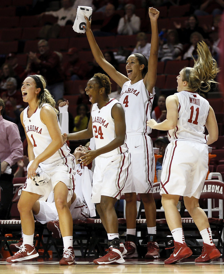 From left, Oklahoma's Nicole Kornet (1), Sharane Campbell (24), Nicole Griffin (4) and Derica Wyatt (11) react on the bench after Felisha Gibbs (43), not pictured, made a shot during a women's college basketball game between the Oklahoma Sooners and the Maryland Eastern Shore Lady Hawks at Lloyd Noble Center in Norman, Okla., Sunday, Dec. 15, 2013. OU won, 105-46. Photo by Nate Billings, The Oklahoman