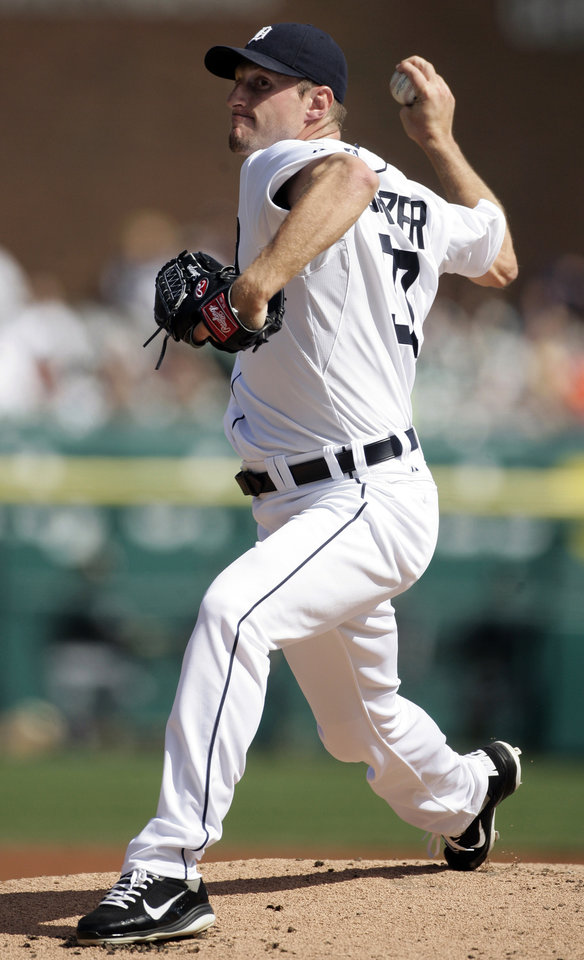 Photo -   Detroit Tigers starter Max Scherzer pitches against the Chicago White Sox in the first inning of a baseball game, Saturday, May 5, 2012, in Detroit. (AP Photo/Duane Burleson)