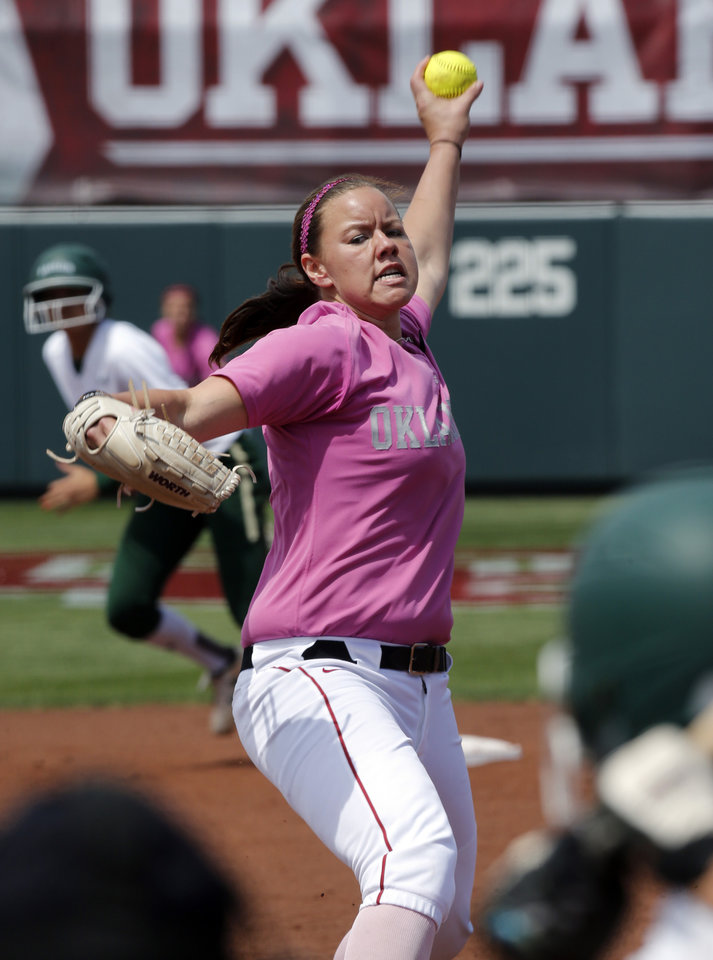 Keilani Ricketts pitches and closes the inning where she came in as a relief pitcher as University of Oklahoma (OU) Sooners play the Baylor Bears in NCAA college softball at Marita Hines Field on Saturday, April 6, 2013  in Norman, Okla. Photo by Steve Sisney, The Oklahoman