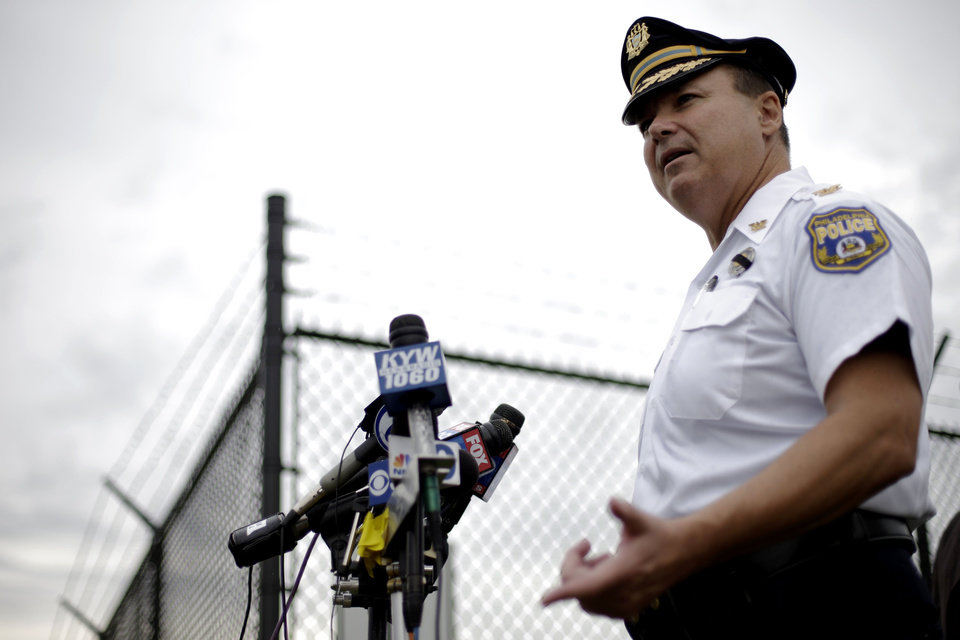 Photo -   Philadelphia police Chief Inspector Joseph Sullivan speaks during a news conference near the Philadelphia International Airport Thursday, Sept. 6, 2012, in Philadelphia. A security scare that prompted authorities to recall an airborne U.S. flight was the result of an apparent hoax, police said Thursday. (AP Photo/Matt Rourke)