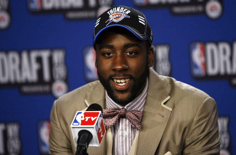 Arizona State University's James Harden takes questions in the interview room after being selected by the Oklahoma City Thunder as the No. 3 pick in the first round of the NBA basketball draft Thursday, June 25, 2009, in New York. (AP Photo/Jason DeCrow) ORG XMIT: NYJD108