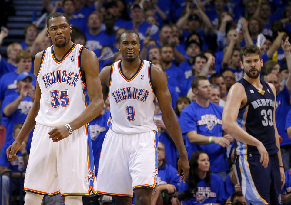 NBA BASKETBALL / REACTION: Oklahoma City\'s Kevin Durant (35) and Serge Ibaka (9) react as Memphis\' Marc Gasol watches during Game 2 in the second round of the NBA playoffs between the Oklahoma City Thunder and the Memphis Grizzlies at Chesapeake Energy Arena in Oklahoma City, Tuesday, May 7, 2013. Oklahoma City lost 99-93. Photo by Bryan Terry, The Oklahoman