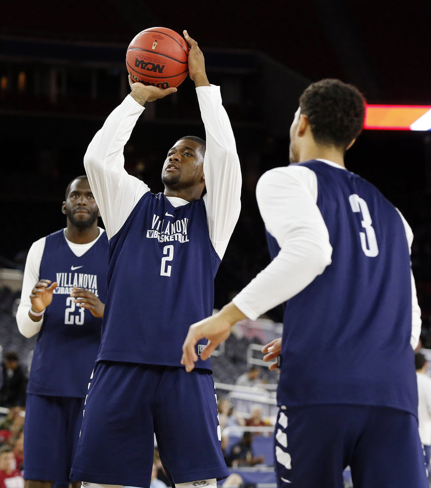 Photo - Villanova's Kris Jenkins (2) shoots between Daniel Ochefu (23) and Josh Hart (3) during practice on Final Four Friday before the national semifinal between the Oklahoma Sooners and the Villanova Wildcats in the NCAA Men's Basketball Championship at NRG Stadium in Houston, Friday, April 1, 2016. OU will play Villanova in the Final Four on Saturday. Photo by Nate Billings, The Oklahoman