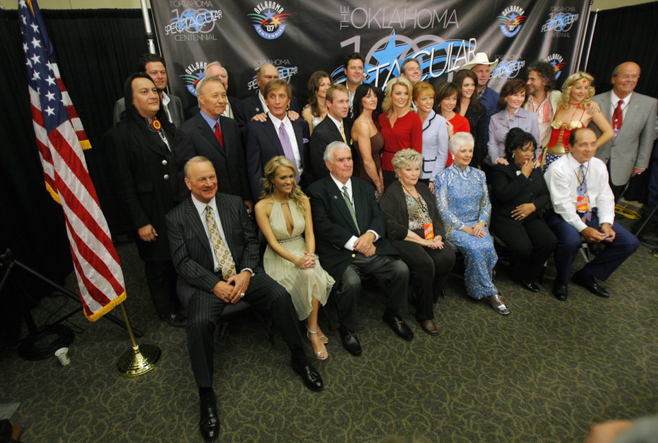 Photo - The Spectacular performers gather for a group photo after the press conference during Centennial Spectacular to celebrate the 100th birthday of the State of Oklahoma at the Ford Center on Friday, Nov. 16, 2007, in Oklahoma City, Okla. Photo By CHRIS LANDSBERGER, The Oklahoman