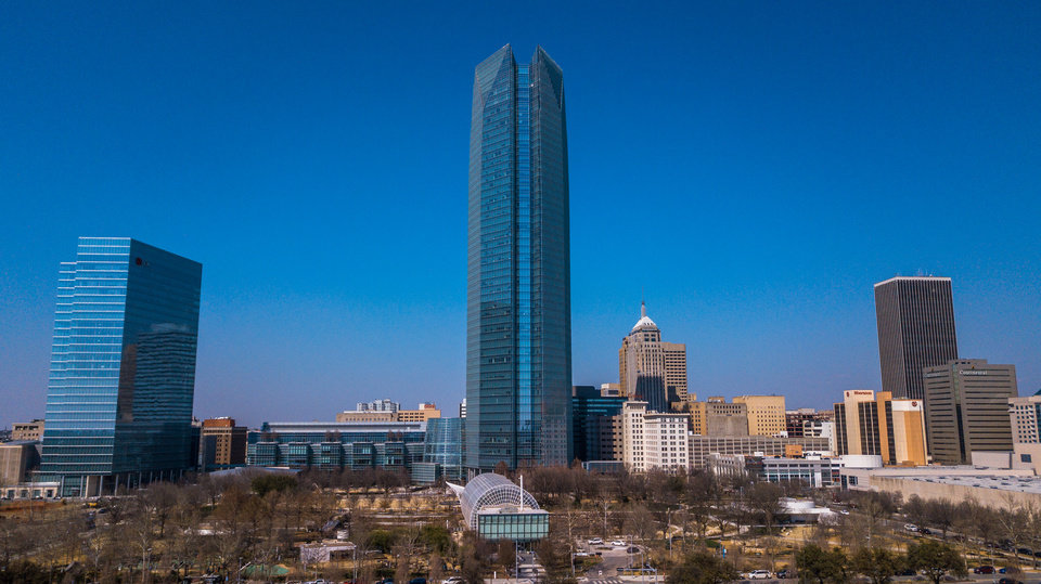 Photo -  Aerial image of the downtown Oklahoma City skyline and Devon Tower earlier this year. [DAVE MORRIS/THE OKLAHOMAN]