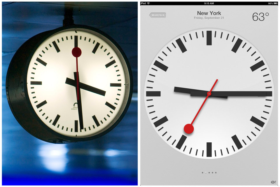 Photo -   This combination of two images shows on the left, in a Sept. 2005 file photo, at Swiss railroad station clock at the Zurich station; and on the right, a screen shot taken from an Apple iPad, displaying a clock symbol, which is part of the new iOS 6 operating system, Friday, Sept. 21, 2012 in New York. Switzerland's national rail company is accusing Apple Inc. of stealing the iconic look of its station clocks for the iOS 6 operating system used by iPad mobile devices. Both designs have a round clock face with black indicators except for the second hand which is red. The rail company is now seeking financial compensation. (AP Photo/Keystone, Gaetan Bally)