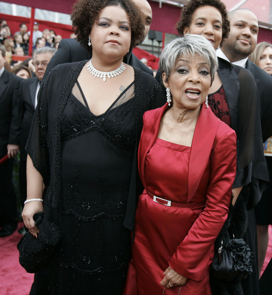 Photo - FILE - In this Feb. 24, 2008 file photo, Ruby Dee, right, nominated for an Oscar for best actress in a supporting role for her work in