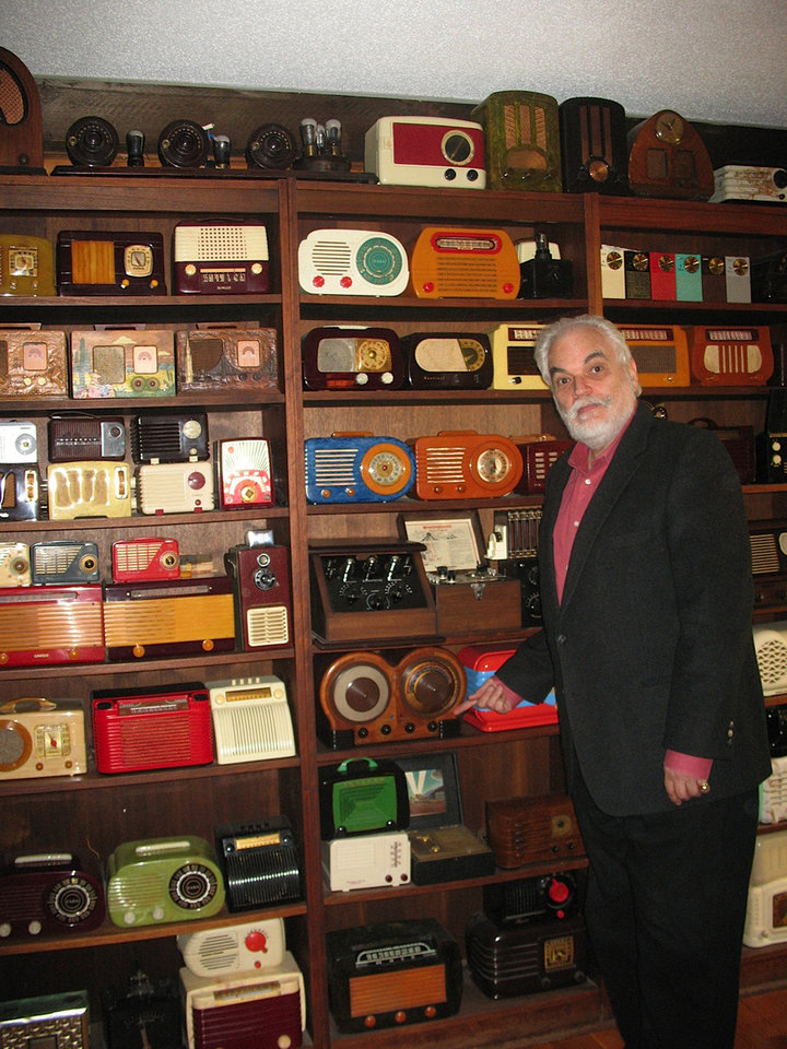 Photo -   In this photo taken Monday, April 30, 2012, J. David Goldin, shows his radio collection in Sandy Hook, Conn. A federal judge in Maryland is set to sentence a former government employee for stealing thousands of recordings from the National Archive and selling many on eBay. The man who noticed the theft and helped capture the thief is a retired radio engineer from Connecticut, J. David Goldin. Goldin spotted on eBay a record he'd donated to the archive in the 1970s, setting off an investigation. (AP Photo/Jessica Anne Gresko) Thank you, Jessica