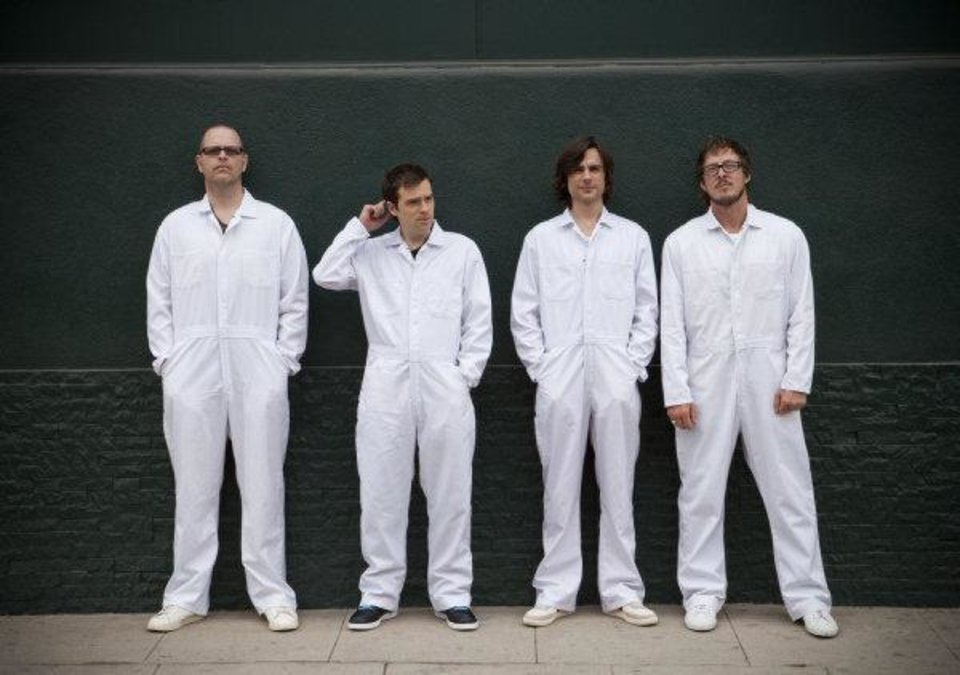 Photo - Weezer, from left: Patrick Wilson, Rivers Cuomo, Brian Bell, Scott Shriner. PHOTO PROVIDED  Sean Murphy