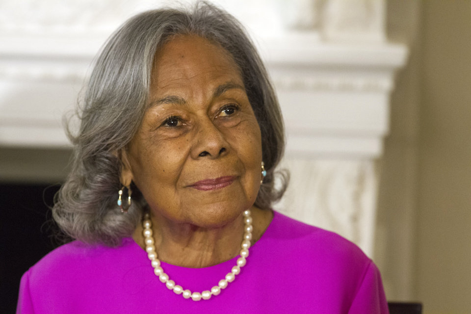 Photo - Rachel Robinson, 90, widow of baseball great Jackie Robinson attends a workshop for high school and college students with cast members of the movie