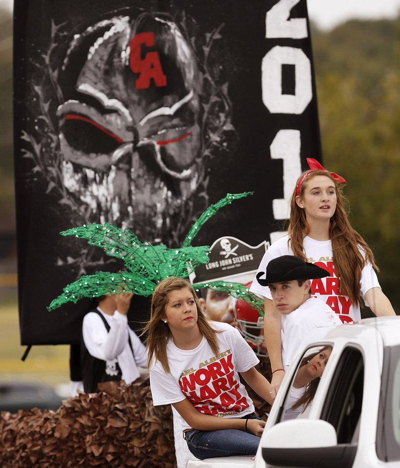 The sophomore class float was awarded first place in float competition. The theme for the parade was pirates. Carl Albert High School is celebrating its 50th birthday this year and students and alumni participated in homecoming week activities, including a two-mile long parade before the football game on Friday, Oct. 12, 2012. Photo by Jim Beckel, The Oklahoman
