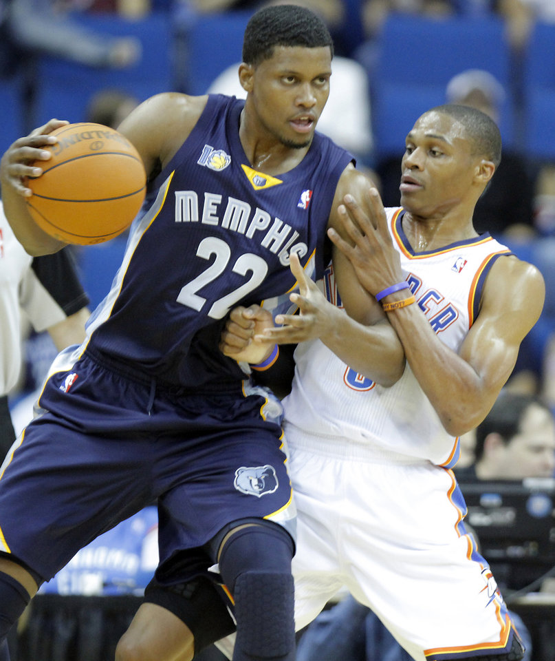 EXHIBITION NBA BASKETBALL GAME: OKC\'s Russell Westbrook (0) defends on Memphis\' Rudy Gay (22) during the first half of the preseason NBA basketball game between the Oklahoma City Thunder and the Memphis Grizzlies on Tuesday, Oct. 12, 2010, in Tulsa, Okla. Photo by Chris Landsberger, The Oklahoman ORG XMIT: KOD