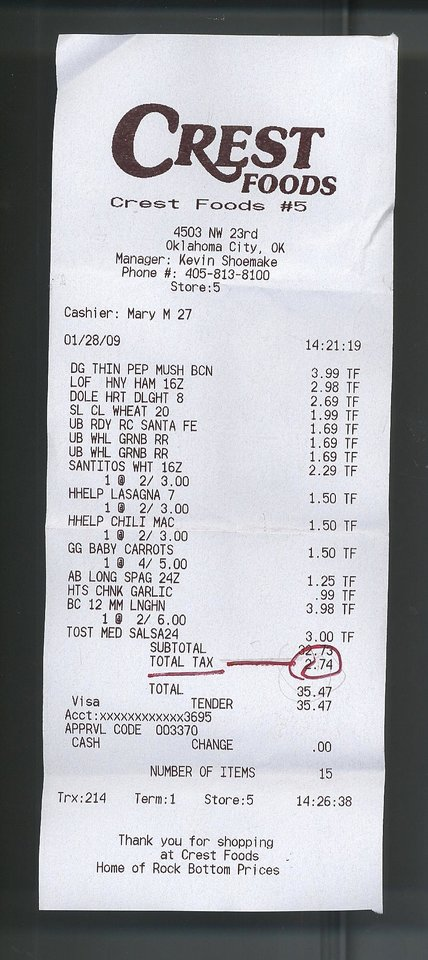 Photo - GROCERY STORE RECEIPT: Crest receipt for story about grocery sales tax. ORG XMIT: KOD